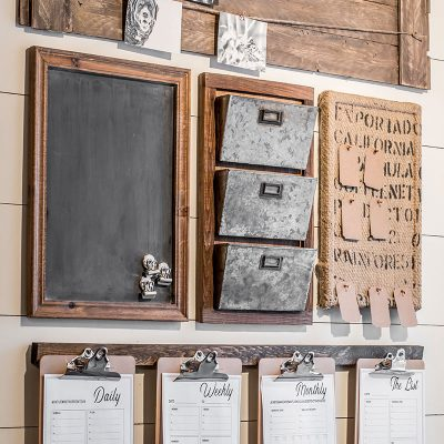 A Rustic Style Home Command Center Perfect for a Small Space.