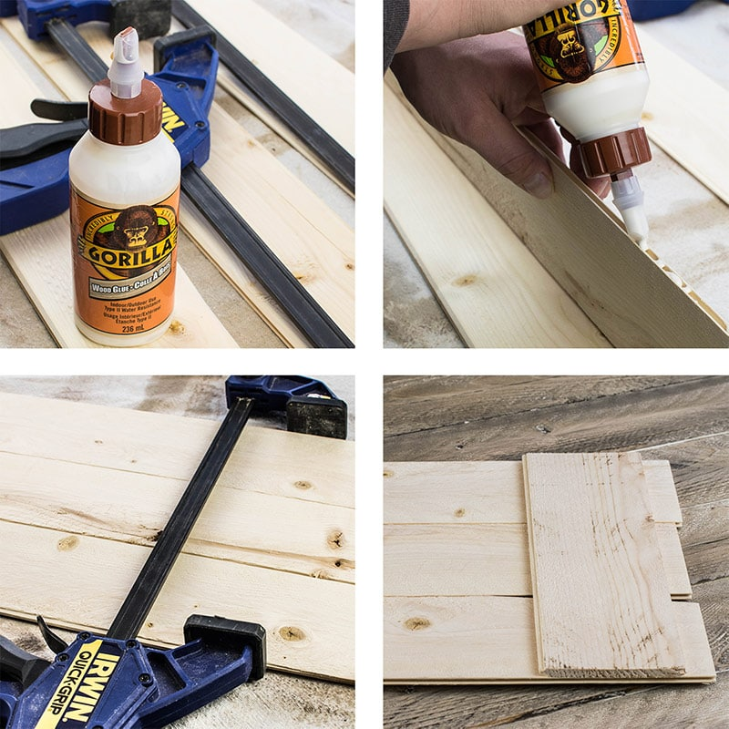 4 picture tutorial for how to build a picture wall hanger.