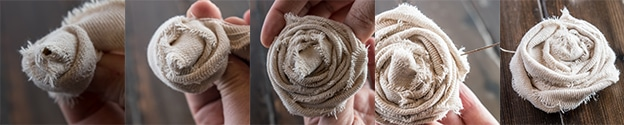 photo sequence demonstrating how to roll canvas roses for a textured pillow