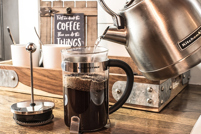coffee station in a rustic tray with farmhouse touches