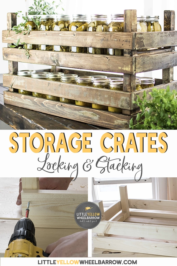 DIY stackable storage bins that lock together.  These rustic farmhouse style wooden crates were designed to store excess mason jars, but their uses are unlimited.  A simple DIY project that you can make in less than an hour.