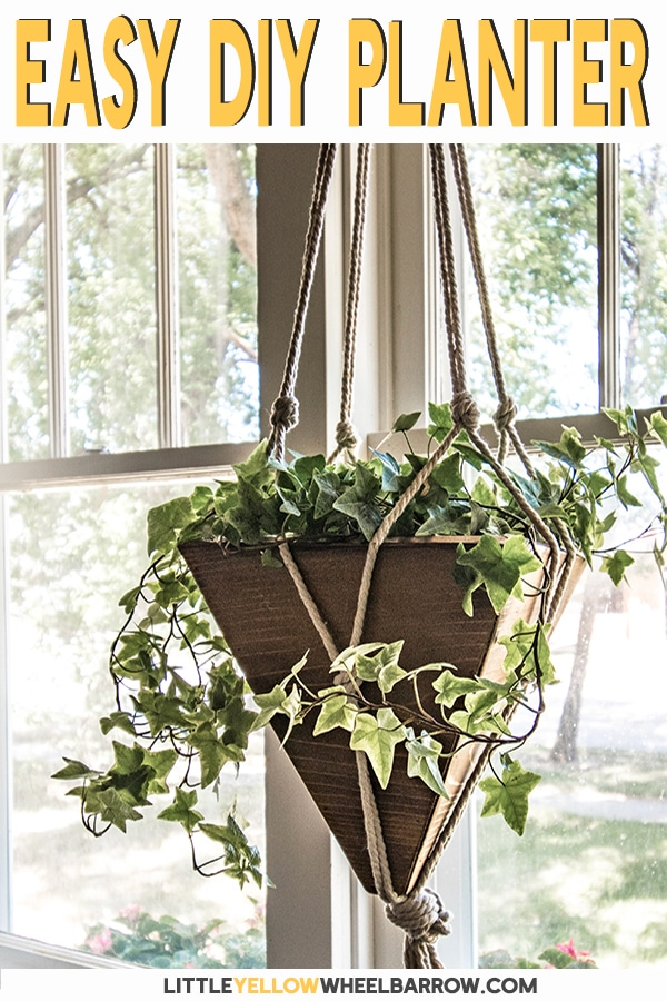 These DIY hanging planters can be made in a weekend and for less than $10.00 each.  The tutorial includes the full plans for the wood planters and the knotted rope cord basket.   These planters work inside or out and are perfect to add a touch of greenery to any space.