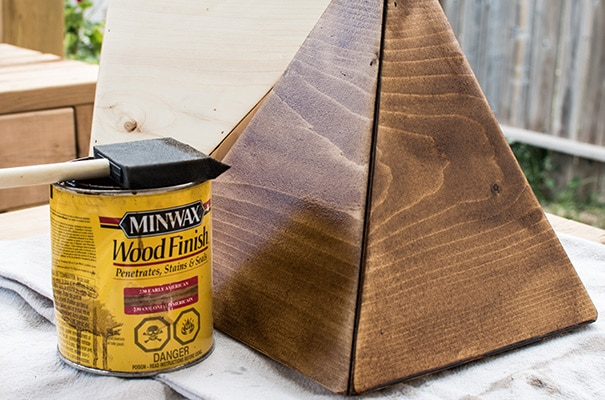 DIY wooden planter stained with Minwax Early American stain